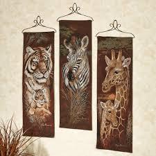 safari animals panel set set of three on safari animal wall art with safari animal wall tapestry panel set