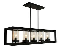 rustic kitchen island rectangular pendant chandelier black finish