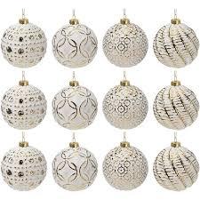 12 Stück Weihnachtskugeln ø8cm 4 Sorten Weiß Und Gold Glaskugeln Weihnachtsbaumkugeln Christbaumkugeln Christbaumschmuck Baumschmuck Dekokugeln