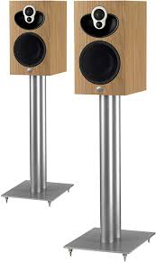 speakers and stands. speakers on majik speaker stands and e