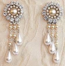 bridal chandelier earrings victorian bridal earrings champagne pearl and rhinestone earrings drop pearls vintage pearl earrings