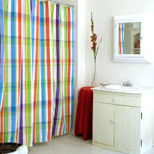 red and grey shower curtain blue yellow white