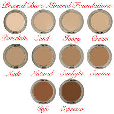 Bare Minerals Matte Foundation Color Chart Bare Mineral Pressed Foundation Cosmetic Makeup