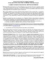 Plumbers Apprentice App November 2015 Journeyman Apprenticeship
