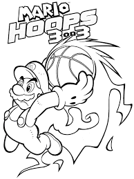 Super Mario Fire Basketball Coloring Page