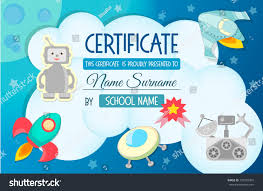 diploma certificate teaching game on theme stock vector  diploma the certificate of the teaching game on the theme of cosmos for children at