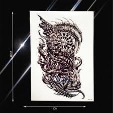 водонепроницаемая мнимый дракон робот рука татуировки стикер для мужчин и женщин