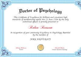 Doctor Of Psychology Certificate Created With Certificatefun Com