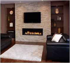 ... gray stone fireplace wall color