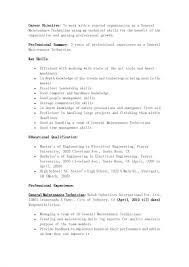 Aircraft Mechanic Resume Sample Blank Format Of Resume
