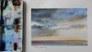 how to paint a sunset storm clouds mood sky tutorial by peter sheeler you