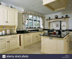 Granite Worktops For Kitchens Cream Island Unit With Black Granite Worktop In Large Country