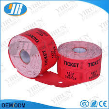 custom roll tickets 180g redemption ticket for arcade game machine printing roll arcade