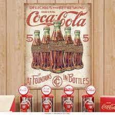 Coca-Cola 5 Cent Bottles Soda Fountain Tin Sign