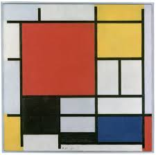 piet mondrian composition with large red plane yellow black grey and
