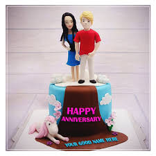 Mix Write Name On Couple Anniversary Cake