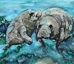 sea life manatee mama pup art print heidi stavinga alcohol ink painting