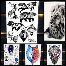 Cool Medvěd šelma Král Vodotěsné Dočasné Tetování Lev Indický