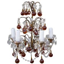 five light crystal beaded chandelier with amber drops