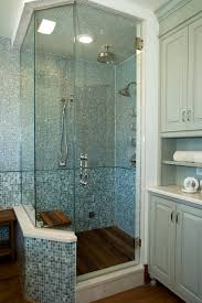 Spa Shower with glass tiles and teak floor transitional-bathroom