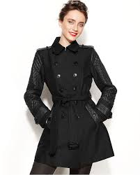 jones new york double ted faux leather trim trench coat