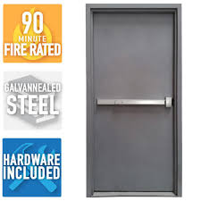 Armor Door 36 in. x 84 in. Fire-Rated Gray Right-Hand Flush Steel ...