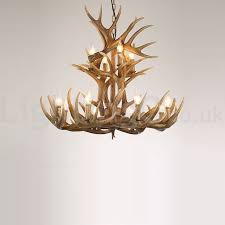 12 light 2 ties rustic artistic retro antler vintage chandelier for living room dining room