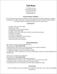 Resume Templates: Front Desk Clerk