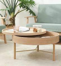 yj round storage coffee table solid