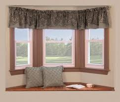 Decorations:Simple Bay Windows Decor With Small Curtain And Window Seating  Idea Bay Window Decorating