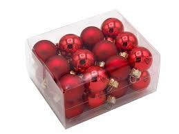 24 Kugeln Weihnachtskugeln Bunt Rot Weiß Braun
