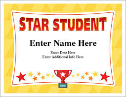Star Student Certificates Star Student Certificate Free Award Certificates