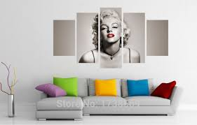 5 piece modern home decoration wall decor art picture for living room marilyn monroe canvas print oil painting canvas art f0183 in painting calligraphy