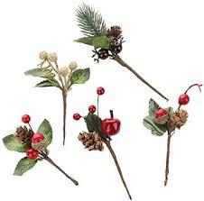 Asdomo <b>20pcs</b> Artificial Pine Picks <b>Christmas</b> Snow Tipped Pine ...