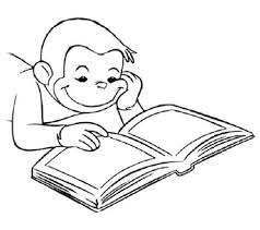 curious george reading book coloring page curious george