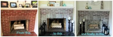 image of brick fireplace makeover before and after