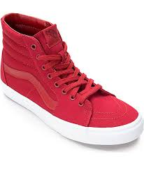vans shoes red and white. vans sk8-hi chili red \u0026 white skate shoes and a
