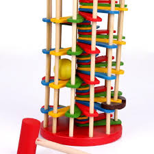 ball tower toy. free ship montessori education baby kid child knock ball the ladder deluxe pound and roll tower toy