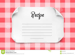 Recipe Paper Template White Vector Paper Sheet With Curved Corners For Recipe