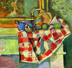 famous painting still life with a checked tablecloth of henri matisse
