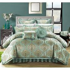 Chic Home 9 Piece Giovani Decorator Upholstery Quality Jacquard Motif  Fabric Complete Master Bedroom Comforter Set