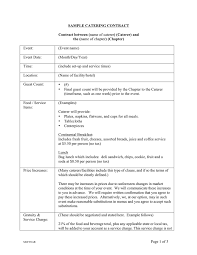 Example Of Catering Contract Sample Catering Contract Template In Word And Pdf Formats