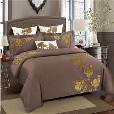 coffee brown egyptian cotton bed set oriental luxury embroidery bedding set queen king size duvet cover bed sheet set pillowcase black bedding sets yellow
