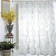 white ruffle shower curtain ruffled bouffant fabric bright blue and yellow bathroom use coordinating ribbon to hang girls uk