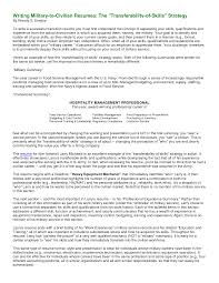 Cover Letter Military Resume Writing Writing A Military Resume