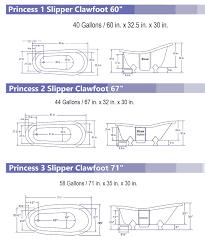 view detailed princess clawfoot bathtub dimensions