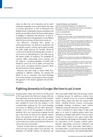 fighting dementia in europe the time to act is now the lancet  first page of article