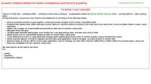 Blank Work Experience Certificates