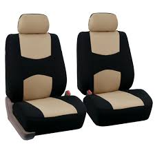 fh group universal flat cloth fabric car seat cover full set beige and black com