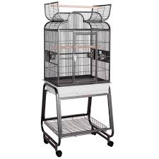 HQ Opening Scroll Top with Cart Stand Bird Cage in Platinum